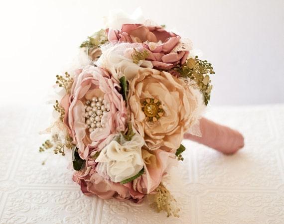 Fabric Flower Bouquet Wedding Silk Flower Bouquet With
