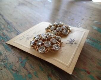Vintage Rhinestone Albert Weiss Clip On Earrings