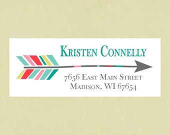 Return address labels, stickers, rectangular--arrow