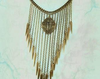 Faith rises Chandelier fringe necklace Rhinestone medieval rosary cross