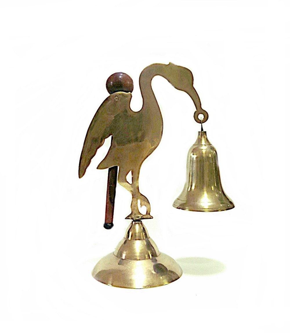 Brass Dinner Bell With Striker Flamingo Figurine 1970s Vintage