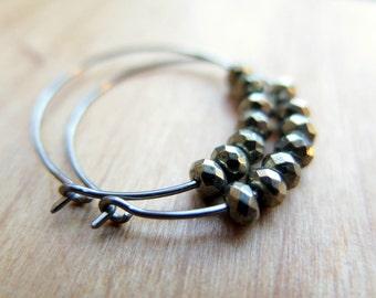 hypoallergenic jewelry. niobium hoops. pyrite earrings.