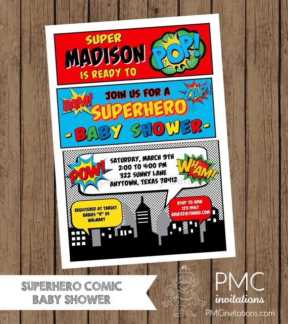 custom printed superhero comic baby shower invitations 1.00, Baby shower invitations