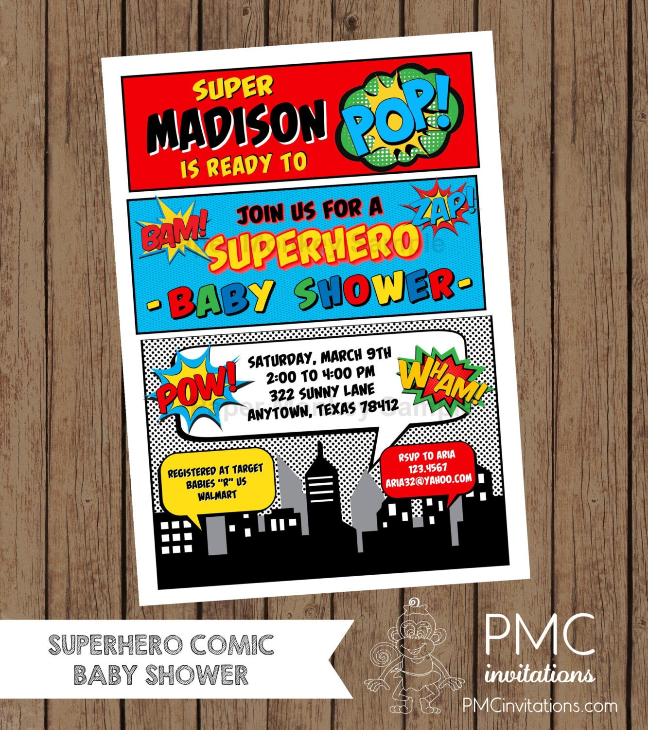 custom printed superhero comic baby shower invitations etsy