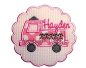 Machine Embroidery Design Applique Firetruck Scallop INSTANT DOWNLOAD