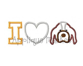 Machine Embroidery Design Applique I Heart Hound INSTANT DOWNLOAD