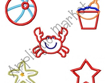 Machine Embroidery Design Applique Beach Mini Apps INSTANT DOWNLOAD