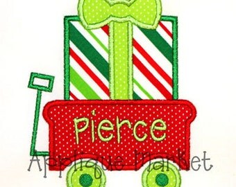 Machine Embroidery Design Applique Gift Wagon INSTANT DOWNLOAD
