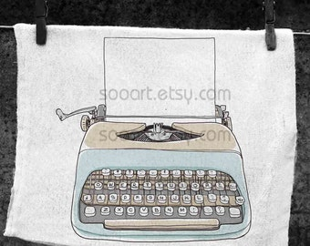 Two tone Typewriter with paper  vintage-Original Illustrate Drawing  A4 Print transfer on Pillows, t-shirts, scrapbook, lampshades  ETC.v