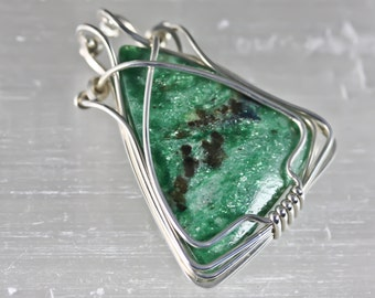 Wire Wrapped Talisman Amulet Pendant - Fuchsite and Kyanite - Unique Original Design by Philip Crow