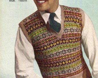 1940's Men's Fair Isle Vest Vintage Knitting Pattern 335