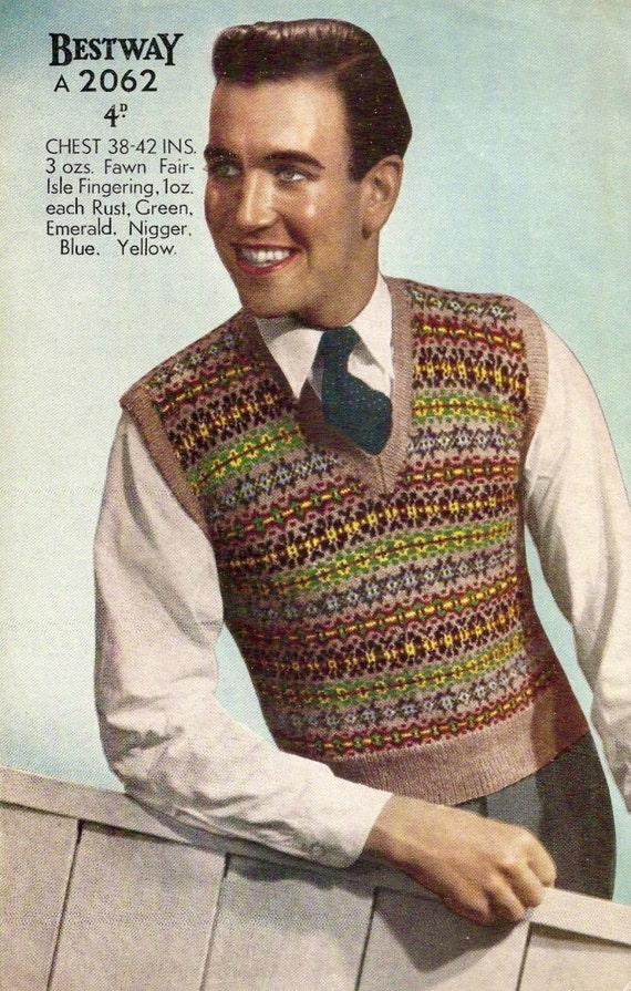 1940's Men's Fair Isle Vest Vintage Knitting Pattern 335 from ...