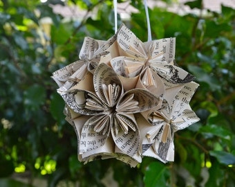 Wind in the Willows Book Small Paper Flower Pomander Ornament
