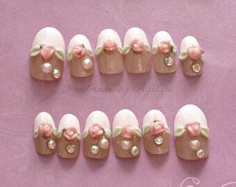 Lolita nail, fake nails, french tips, bridal nail, 3D nail, kawaii nail, cute nail, pretty nail, nail art, nail set, Japanese nail, deconail
