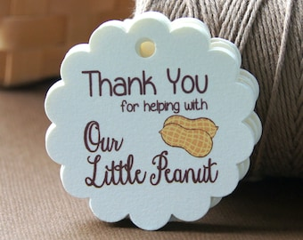Our Little Peanut Thank You Tags . 12 Baby Shower Tags . 2 inch