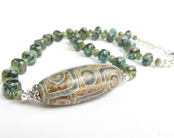 Tribal Pendant Necklace, Green and Tan, Handmade by Harleypaws, SRAJD OOAK