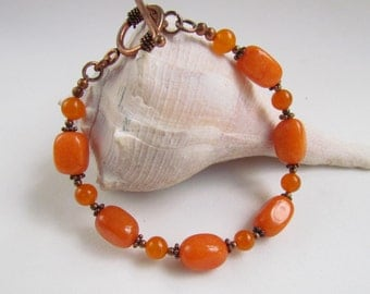 Orange Beaded Bracelet, Handmade by Harleypaws SRAJD