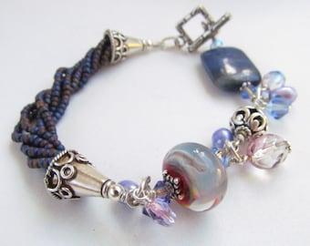 Lampwork Beaded Bracelet, Handmade by Harleypaws, SRAJD OOAK