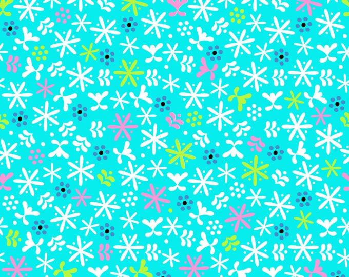 Snowflake Flurry Fabric by Ellen Medlock - 1 yard cut of Turquoise Flurries sewing Quilting Cotton Print Fabric (#920T)