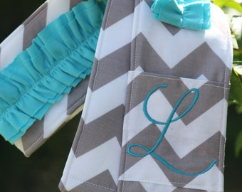 Monogrammed Ruffled Camera Strap Cover - Grey Chevron/ Aqua