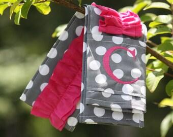 Monogrammed Ruffled Camera Strap Cover - Charcoal Dot/ Pink