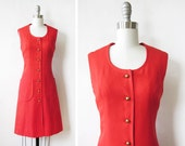 60s red mod dress, vintage 1960s linen dress, small mod scooter dress