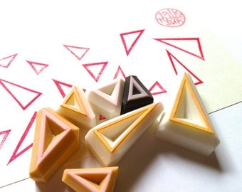 triangle stamp set. geometric pattern hand carved rubber stamps. abstract triangles. birthday scrapbooking. gift wrapping. set of 7