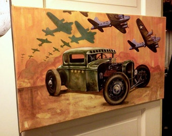 Sara Ray 'Pride of the Fleet' patriotic hot rod art canvas WWII vintage style with B 17 flying fortress
