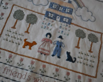 Retro Sampler. Vintage 1980s. Cross Stitch Pillow Cover. The Ornaments Of Home Are The Friends Who Frequent It