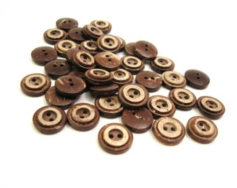 10 Brown Coconut Shell Buttons 13mm - Rustic Circle  (BC608B)