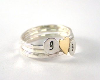 Stack Rings, Silver Rings, Custom Initial Stack Rings, Sterling Silver Initial Brass Heart Rings, Personalized Rings, Set Of Three