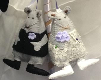 Custom design, Wedding, Anniversary Mice, Wristlet, Gift, Bridal Accessory, Softie Portrait, Soft Sculpture