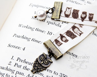 Owls on a twig ribbon bookmark - with adorable bronze owl charm and Swarovski crystal pearl moon - free shipping USA