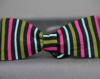 Pink, Green and Black Striped  Bow Tie