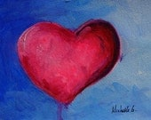 Pink Heart with Drip On a Blue Background, Tell Someone You Love Them