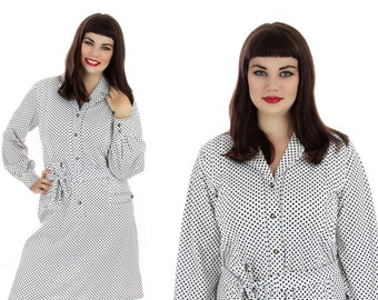 60s Mod Dress White Black Polka Dots Vintage  Enamel Buttons 1970s 70s A-line Mad Men Large XL Plus Size 1X