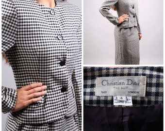 vintage 1980s Christian Dior designer 2 piece suit jacket & skirt set houndstooth black white plaid waist size small