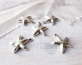 Starfish Charms Vintage Silver 5 Charms Ocean Sea Beach Jewelry Necklace Bracelet Supply #172
