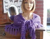 SOFT as SILK large purple crochet shawl wrap shrug with fringes by irish granny
