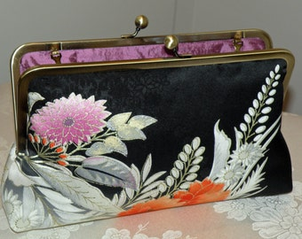 Larger 10 in Frame Clutch/Purse/Bag..Bridal Gift.Cherry Blossom..Silk Kimono Floral.Long Island Bridal/Wedding.Magenta.Ready To Ship sale
