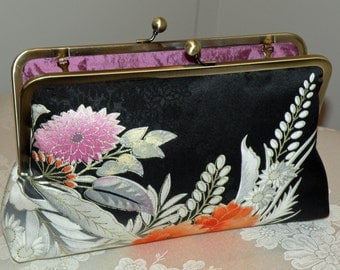 SALE Large10in Frame Painted Clutch/Purse/Bag..Bridal Wedding Handmade Gift..Chrysanthemum Cherry Blossom.Silk Kimono Floral Fabric.Magenta