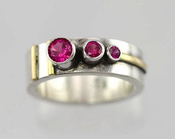3 Stone Sequence Ring 14K (Ruby)(Oxidized) made to order