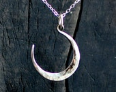 silver moon necklace, forged crescent moon, small moon pendant, celestial, lunar phase, shiny or darkened sterling silver