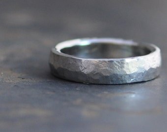 recycled sterling silver ring, simple medium width ring, unisex ring, forged wedding band, stacking ring for men and women, eco friendly