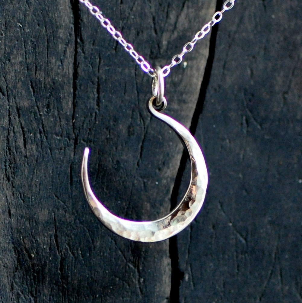silver moon necklace forged crescent moon small moon
