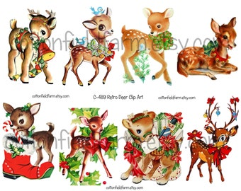 Retro Deer Clip Art for Cards, Scrapbooking, Transfers, Decoupage C-489, Eight images in jpeg and 8 images in png plus full page