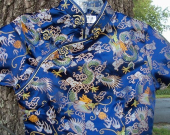 Dress Asian Silk Slim & Tall Jaquard Weave Dragon Indigo Traditional Chinese FIND