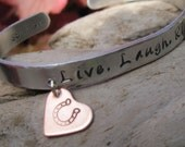 LIVE, LAUGH, RIDE with Your Horse's Names Stamped Inside  -  Hand Stamped Cowgirl Equestrian Western Rodeo Horse Lover Cuff