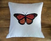 ON VACATIONmonarch butterfly pillow cover - hand painted - original painting - home decor - spring summer - nature