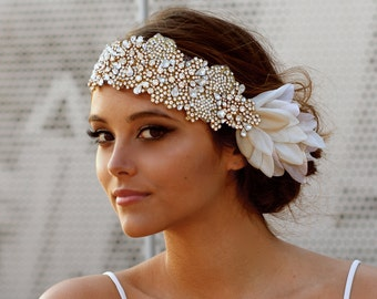 The Original Crystal Bridal Hair Bandeau- Carey